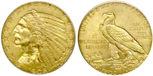Indian Head Half Eagle $5 Gold Coin Values